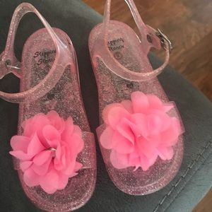 Cute Pink Glitter Jelly Toddler  Sandals Size 9